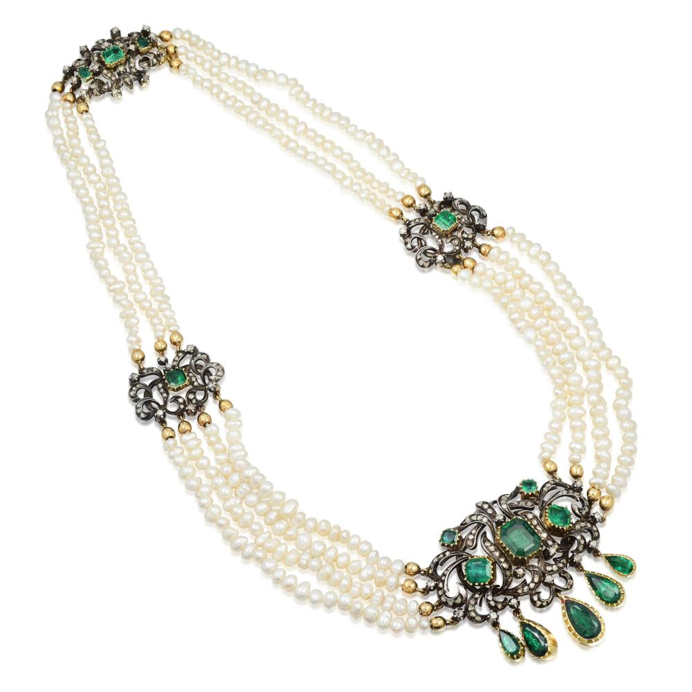 A Silver on Gold Emerald and Diamond Necklace