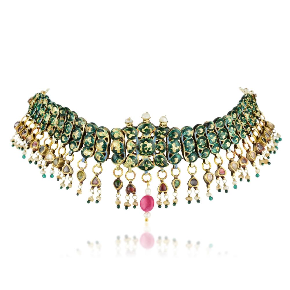 An Indian Multi-Colored Gemstone and Diamond Necklace