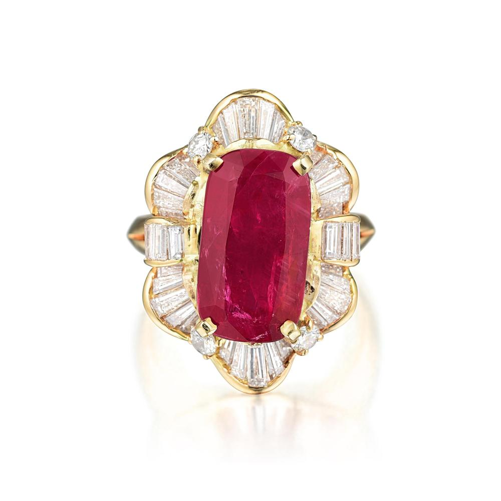 A Ruby and Diamond Ballerina Ring