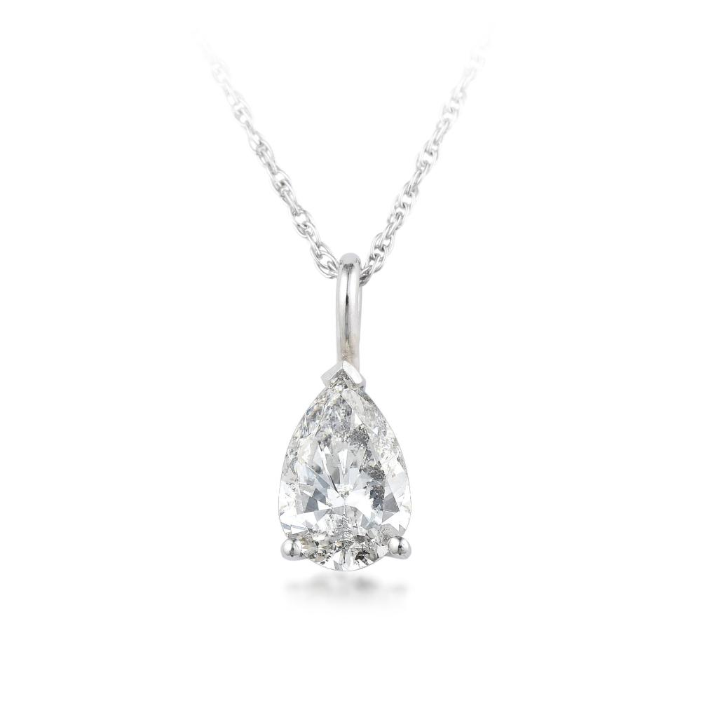 A 1.01-Carat Pear-Shaped Diamond Necklace