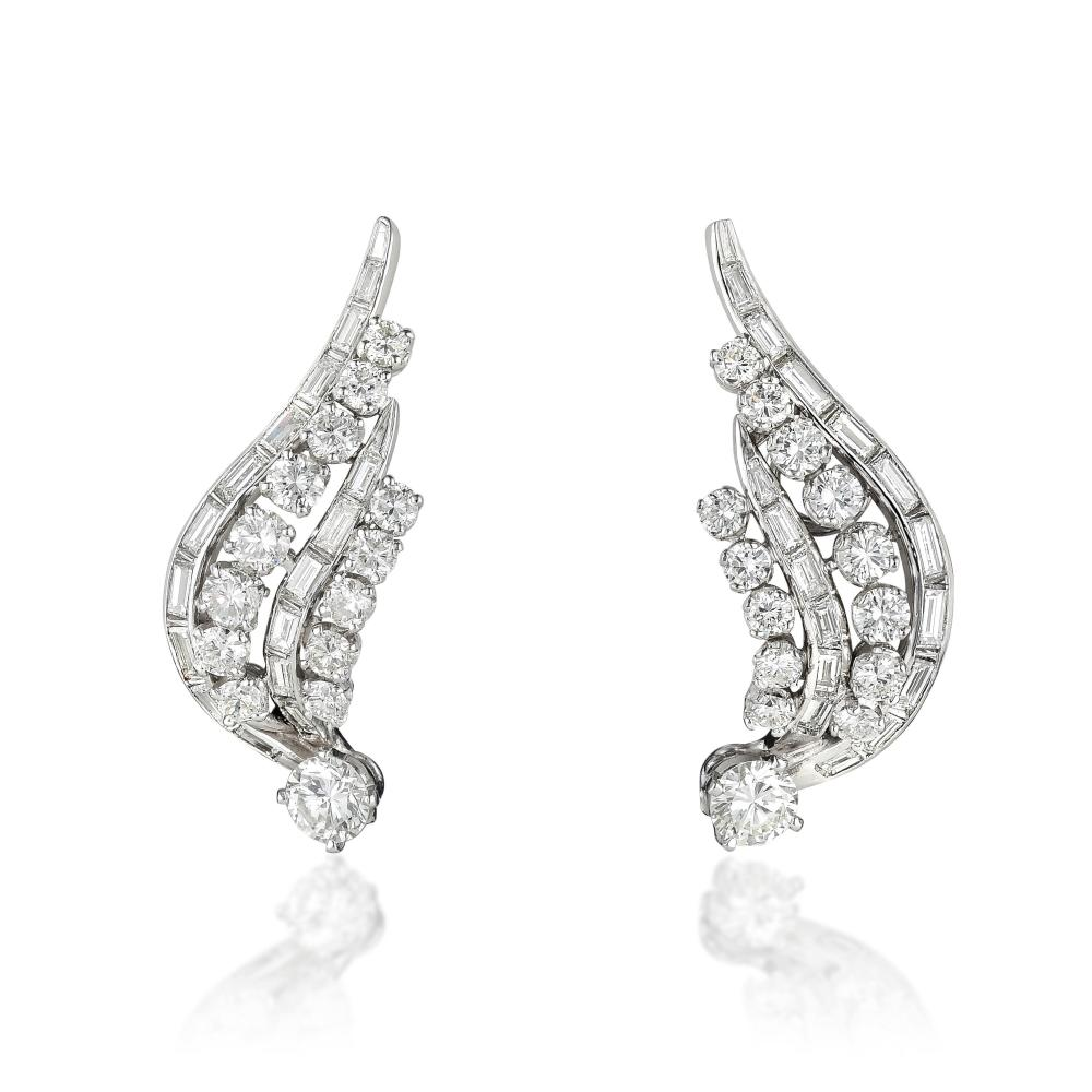 A Pair of Diamond Wing Earclips, French