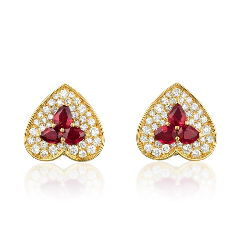 Marchak Ruby and Diamond Heart Earclips