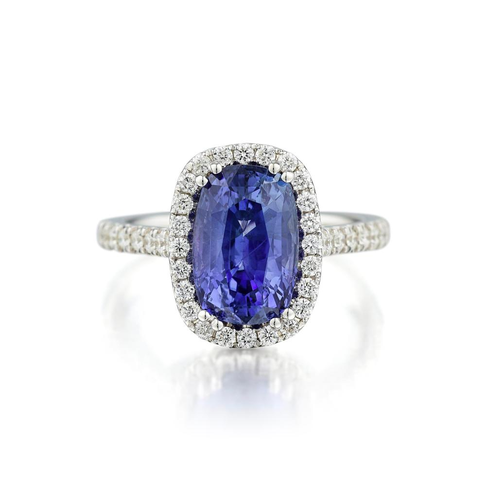 A 4.12-Carat Unheated Sapphire and Diamond Ring