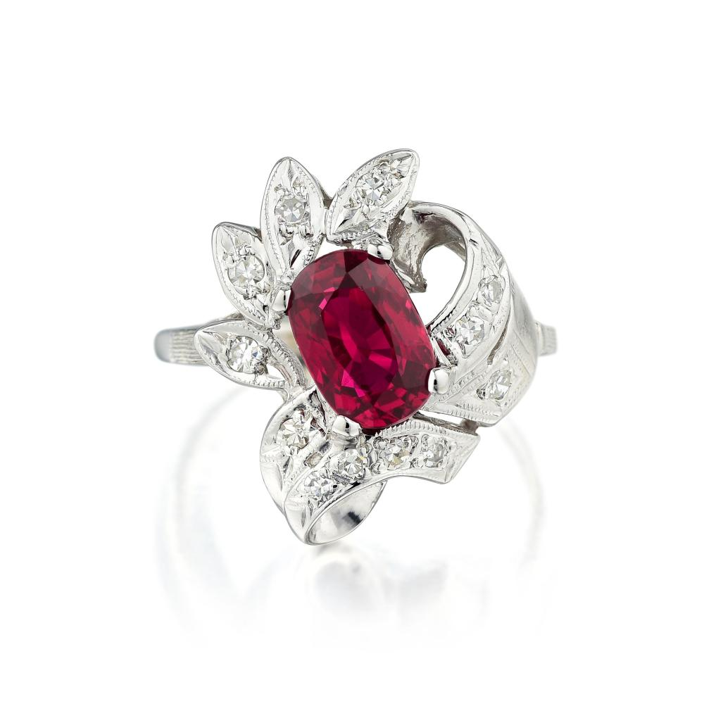 A 1.57-Carat Unheated Ruby and Diamond Ring
