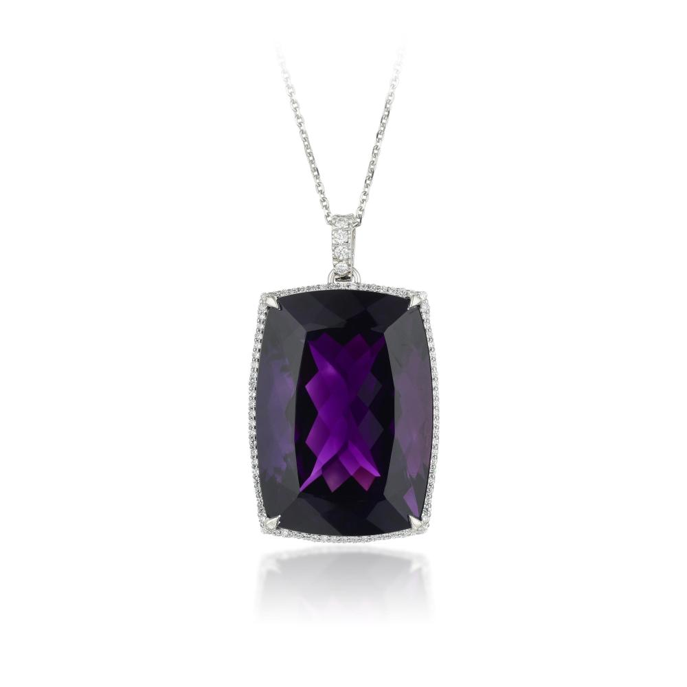 An 83.56-Carat Velvety Amethyst and Diamond Pendant Necklace