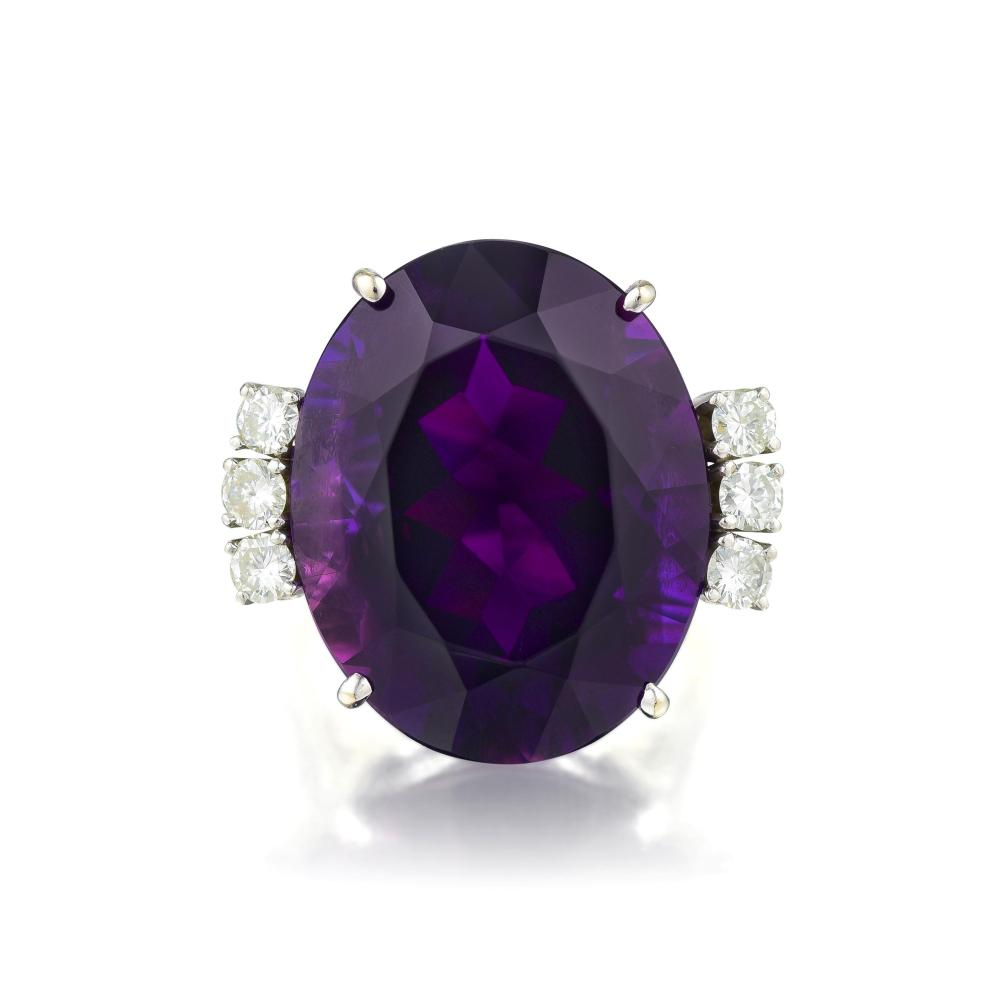 A Large Amethyst and Diamond Ring