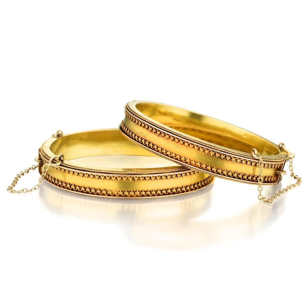 A Pair of Antique Gold Bangles