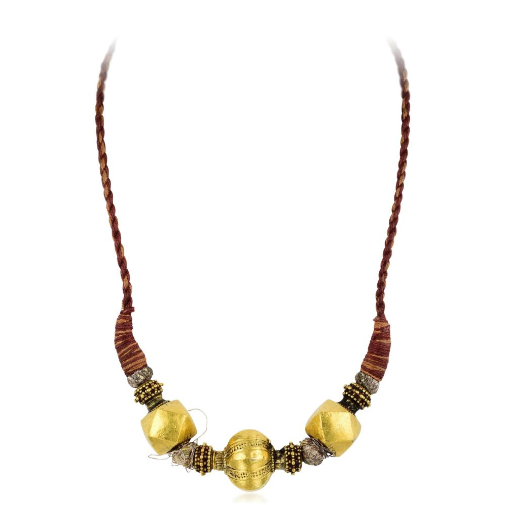 Indian Large Gold Bead Thread Necklace