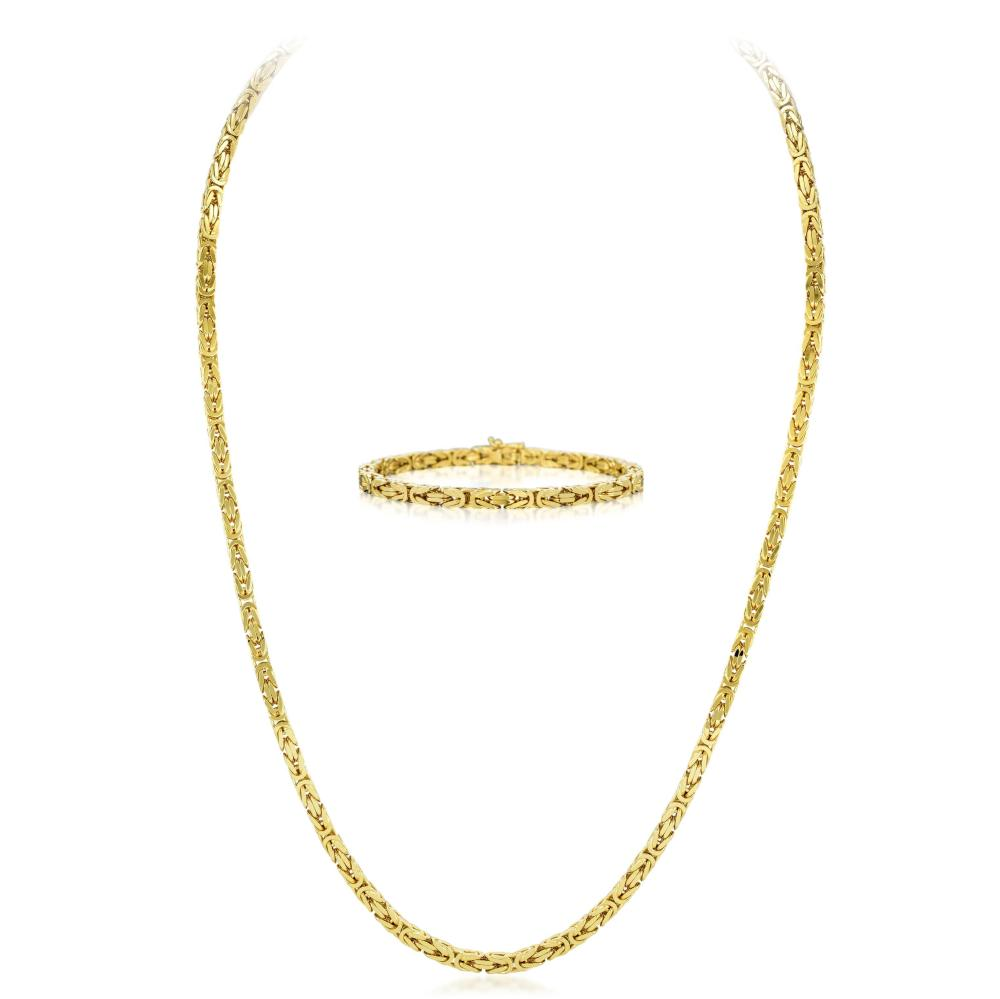 A Gold Parisian Wheat Chain Necklace and Bracelet Set, Italian