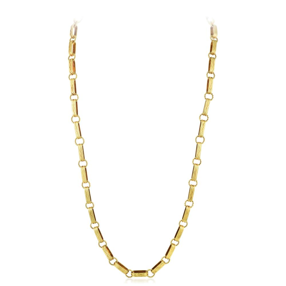 A Gold Long Chain Necklace, Italian