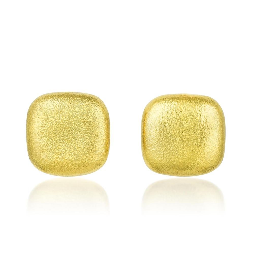 Angela Cummings Hammered Gold Square Earrings