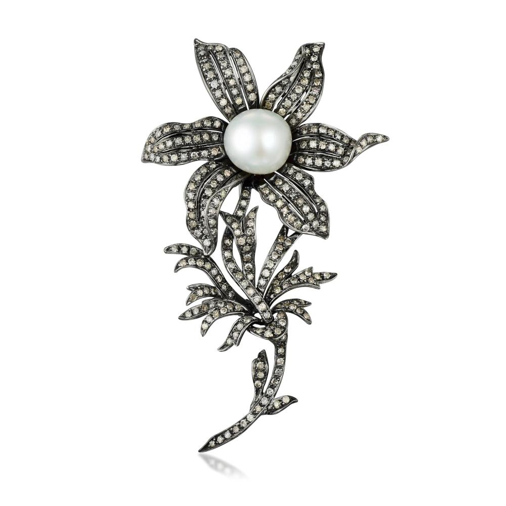 A Diamond and Cultured Pearl Flower Brooch