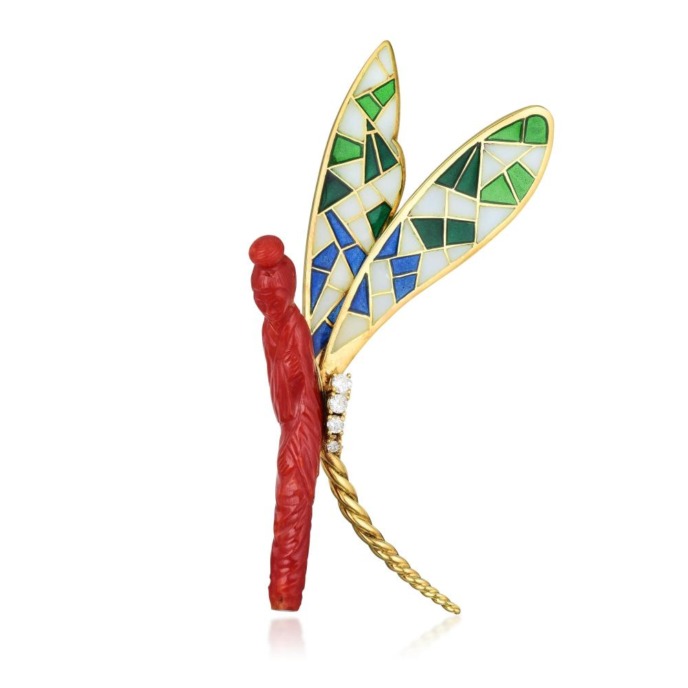 A Coral Fairy with Plique-A-Jour Wings Brooch