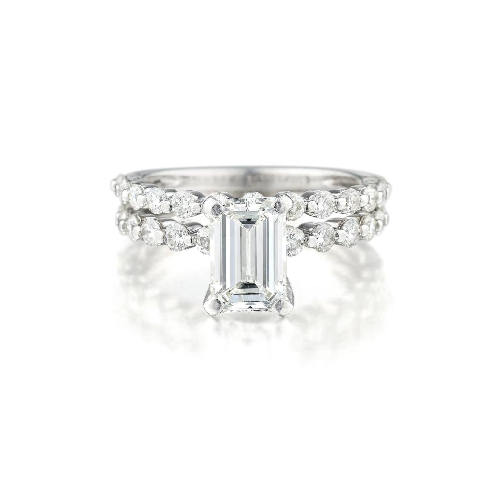 A 1.22-Carat Emerald-Cut Diamond Ring and Wedding Band Ring Set
