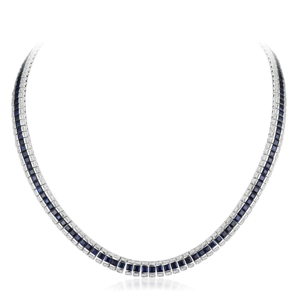 Orianne Sapphire and Diamond Necklace