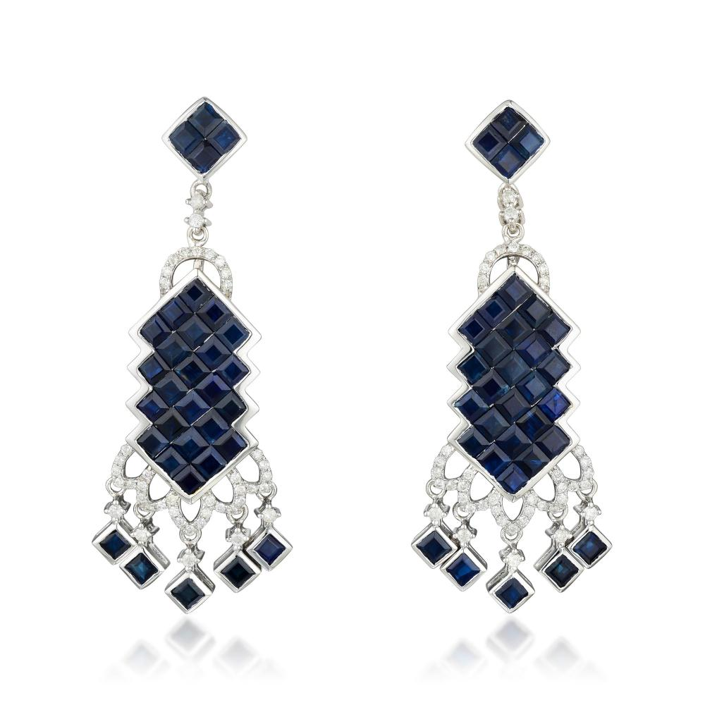 Orianne Sapphire and Diamond Earrings