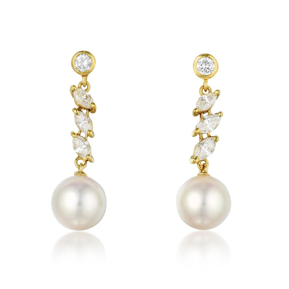 Mikimoto Cultured Pearl and Diamond Drop Earrings