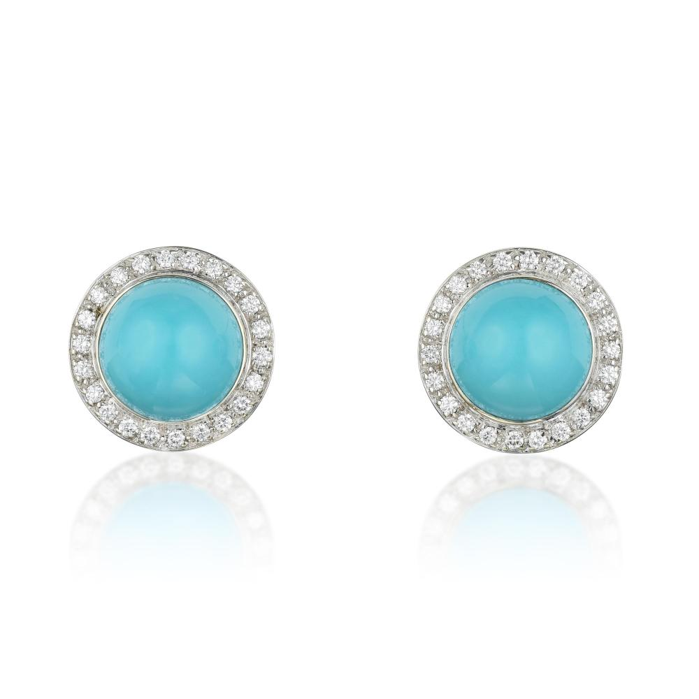 Laura Munder Sleeping Beauty Turquoise and Diamond Earrings