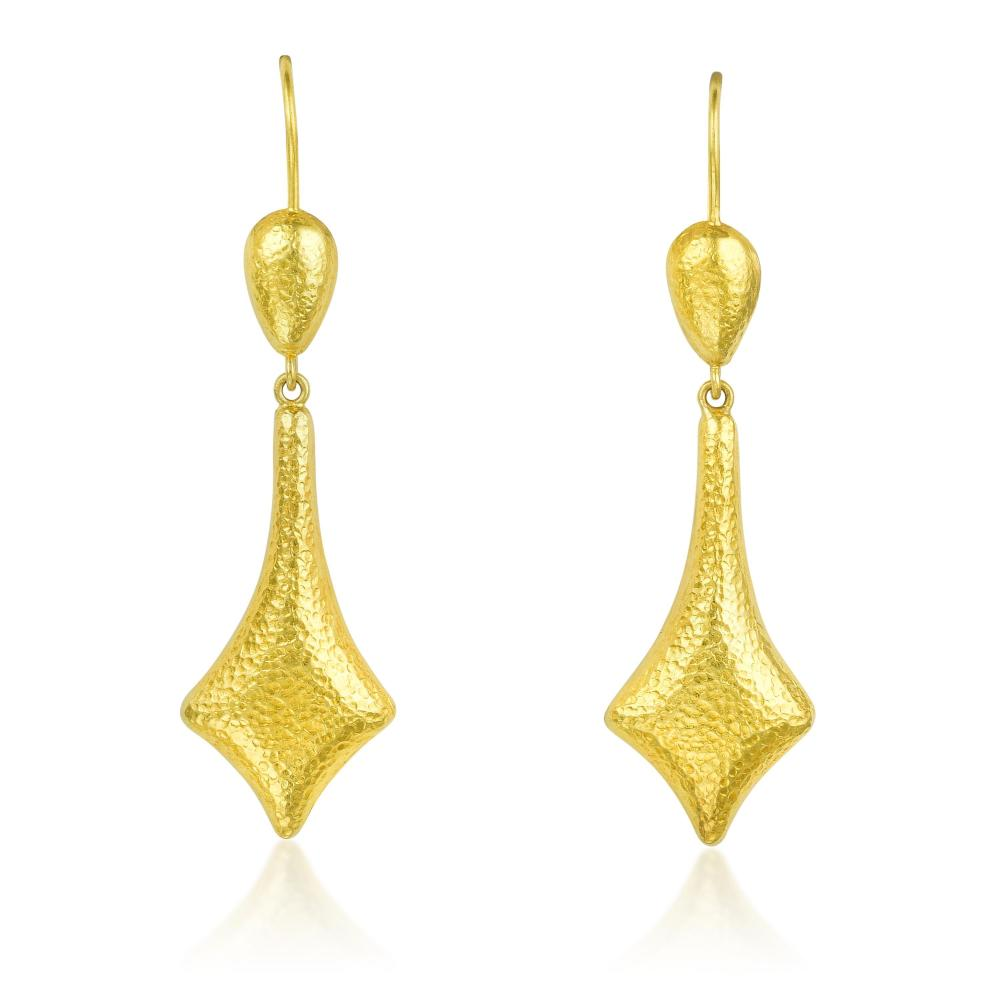 Lalaounis Hammered Gold Drop Earrings