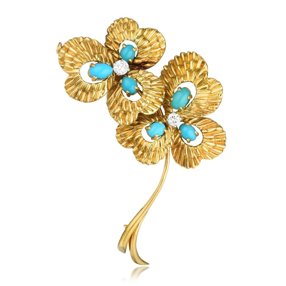 Van Cleef & Arpels Turquoise and Diamond Flower Pin