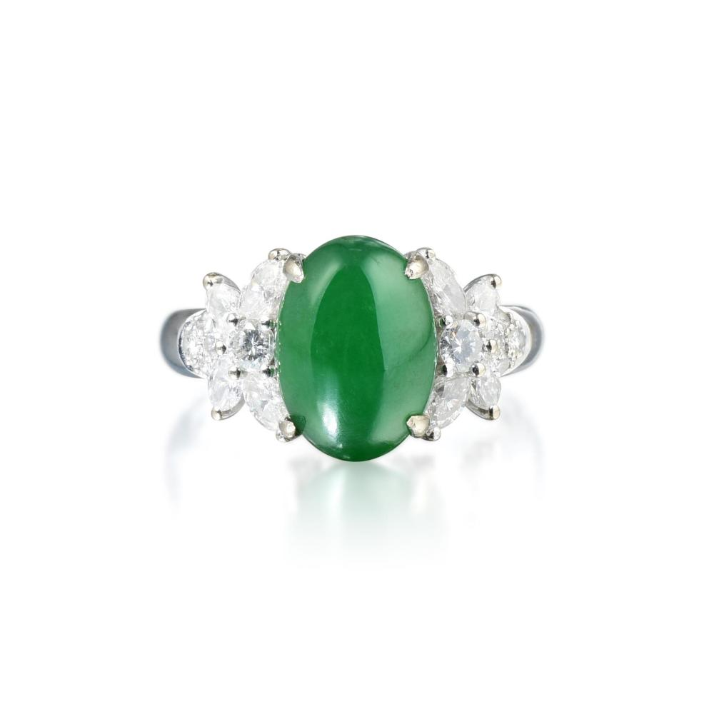 A Fine Jade and Diamond Ring