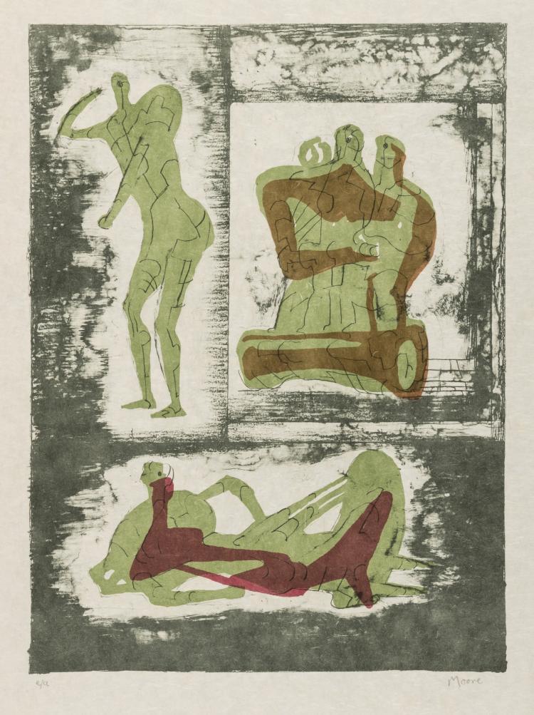 δ Henry Moore (1896-1986) Reclining and Standing Figure and Family Group (Cramer 237)