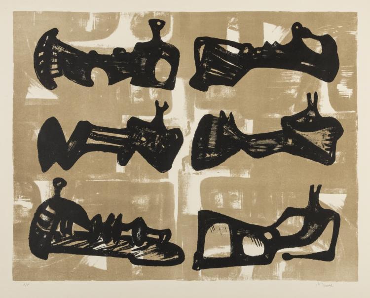 δ Henry Moore (1896-1986) Six Reclining Figures with buff background (Cramer 50)