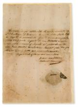 Canova (Antonio) Autograph receipt signed to the Treasurer General of the Royal House of Naples for 250 lira for a cameo portrait of Joachim Murat, King of Naples to be executed in pietra dura, paper …