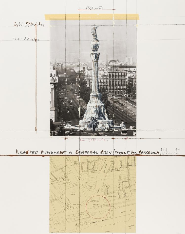 Christo & Jeanne Claude (b.1935; 1935-2009) Wrapped Monument to Cristobal Colon, Project for Barcelona (Schellmann 162)
