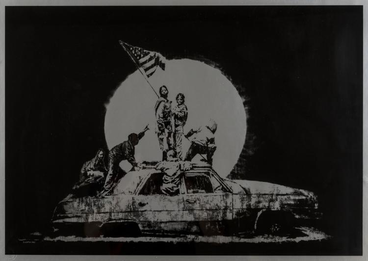 Banksy (b.1974) Silver Flag