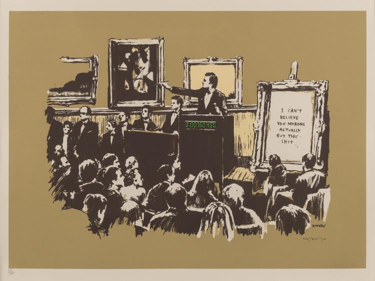 Banksy (b.1974) Morons (Sepia)