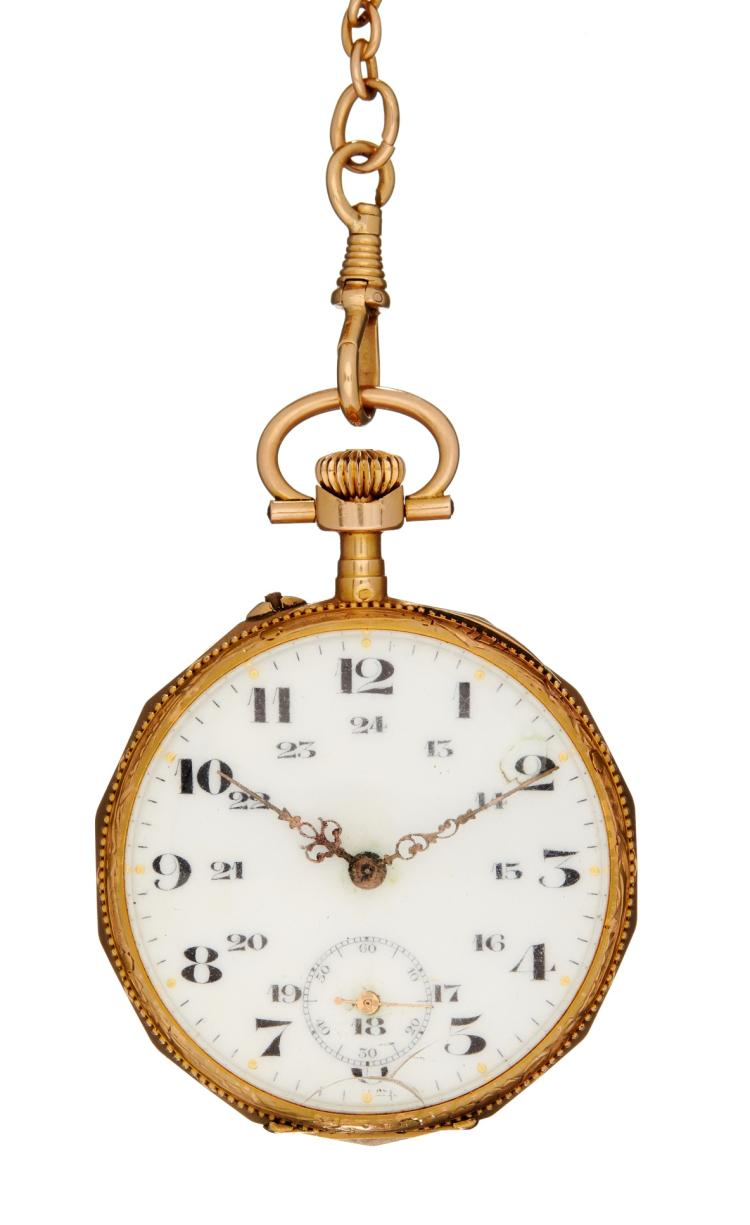18 Carat Rose Gold: An 18 Carat Gold Keyless Wind Open Face Pocket Watch