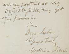 Morris (William), Autograph Letter signed, 1891.