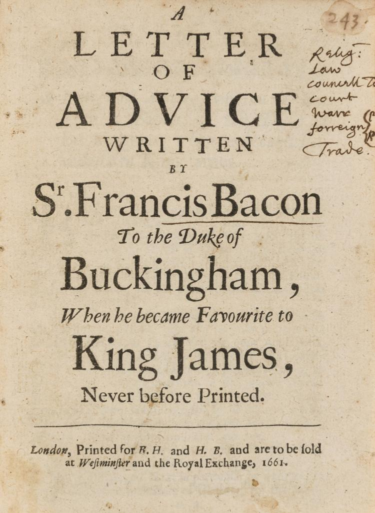 the letter l bacon sir francis a letter of advice written by sr franci 1661