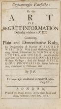 Cryptography.- F[alconer] (J[ohn]) Cryptomenysis Patefacta: Or the Art of Secret Information disclosed without a Key..., first edition, for Daniel Brown, 1685.