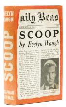 Waugh (Evelyn) Scoop, first edition, first issue, card signed by the author, 1938.