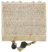 Royal justiciar to Henry III.- Basset (Philip)  Charter, agreement between Sir Philip Basset and Lady Ela and Sir Henry Longchamp, 1268/9.