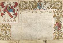 St. George (Sir Thomas, herald, Garter Principal King of Arms, 1615-1703) & Sir John Dugdale, herald, Norroy King of Arms, 1628-1700. Grant and confirmation of arms to Thomas Gladwin of Tupton, near Chesterfield, 1686.