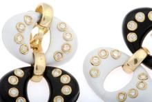 A pair of diamond, gold and enamel earrings, Christian Dior