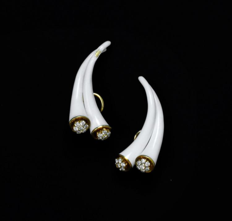 A pair of diamond, gold and enamel ear clips, Christian Dior