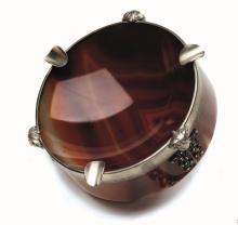 An agate and diamond ashtray, Russia