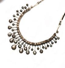 A rose-cut diamond necklace