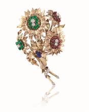 A ruby and emerald brooch, Tiffany & Co.