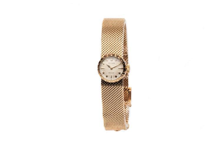 Rolex. A lady's 18ct gold bracelet wristwatch