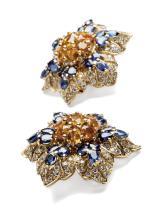 A pair of sapphire and diamond ear clips, Filippo Moroni, Roma