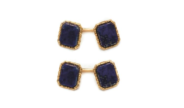A pair of 18ct gold and lapis lazuli cufflinks