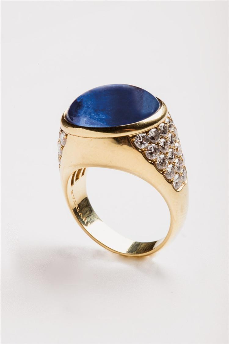 A sapphire and diamond ring, Bulgari