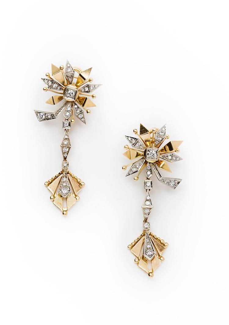 A pair of diamond and 18ct gold earrings, Boucheron Paris