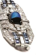 A sapphire and diamond brooch or pendant, mid 20th century