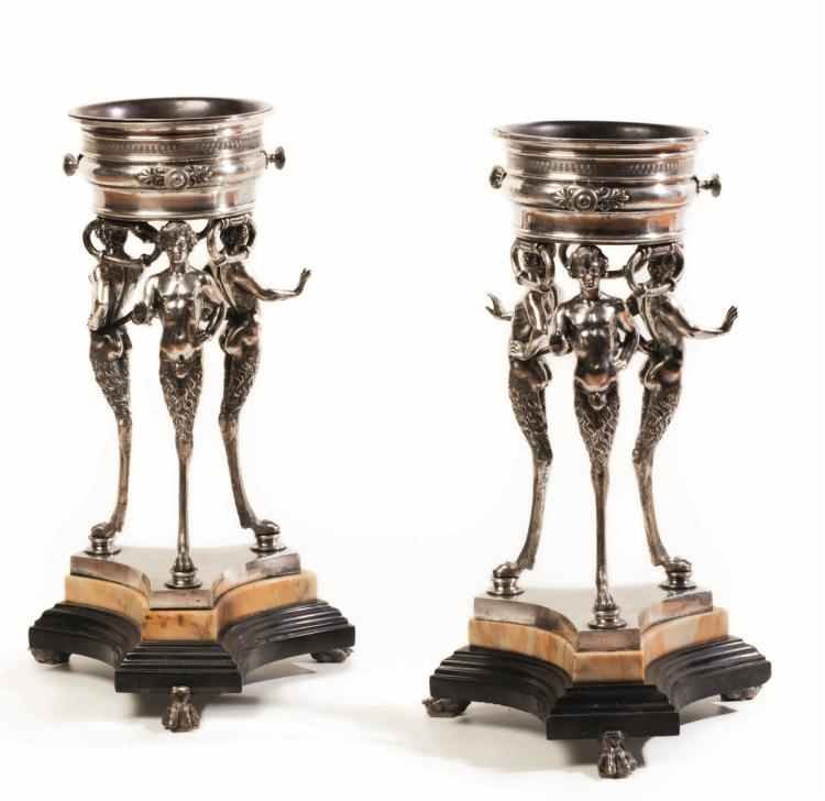 An elegant pair of French silver braziers, Paris